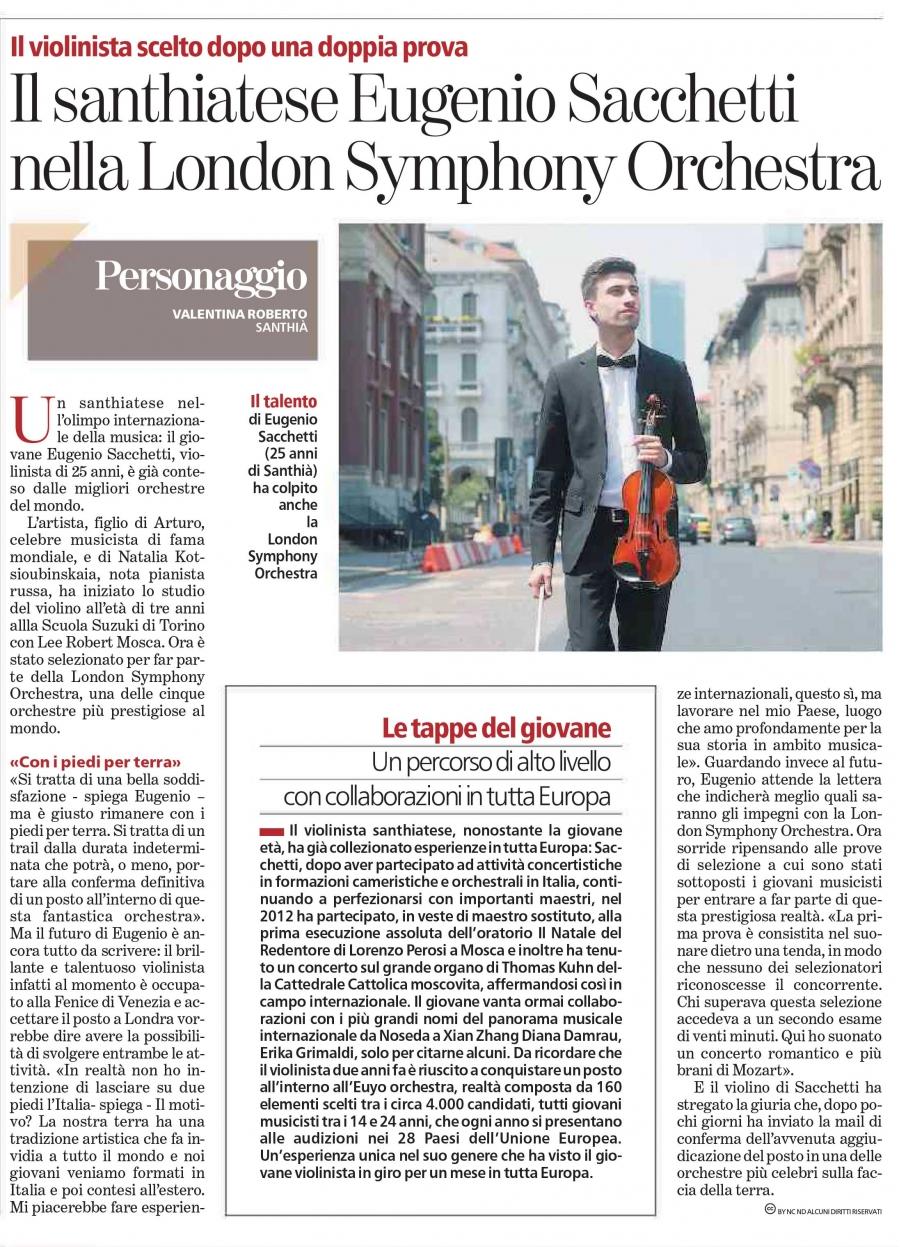 Il santhiatese Eugenio Sacchetti nella London Symphony Orchestra